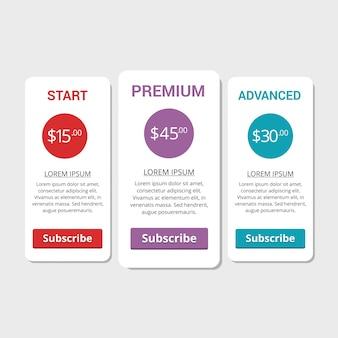 Coleção de planos de preços para sites e aplicativos. banner de hospedagem. ilustração do vetor
