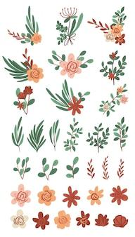 Coleção de plantas desenhadas à mão desenhos fofos de flores frescas