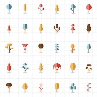 Coleção de plantas e vetores de árvores
