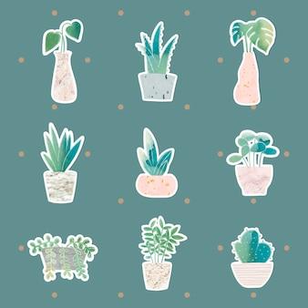 Coleção de plantas em vasos de aquarela