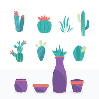Coleção de plantas exóticas elementos naturais são isolados fáceis de mudar pote e flor