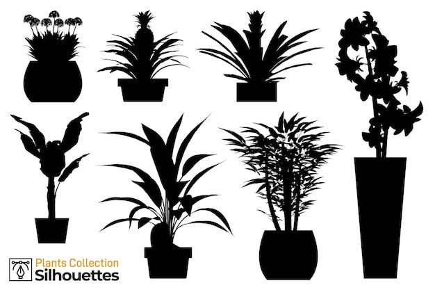 Coleção de plantas isoladas e silhuetas de árvores em vasos de jardim