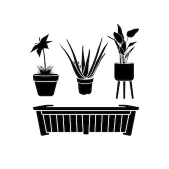 Coleção de plantas ornamentais e vasos de flores, vetor de design inspirador