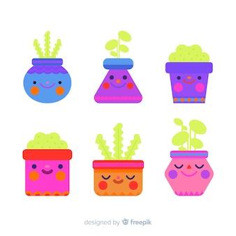 Coleção de plantas plana kawaii