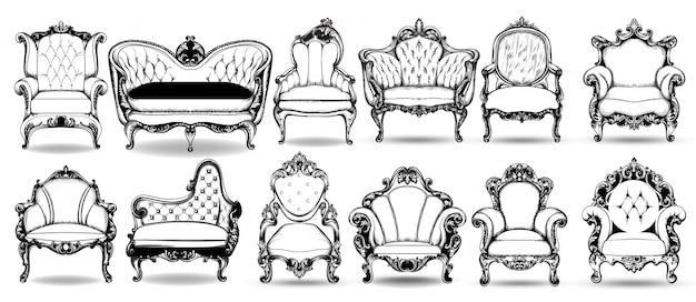 Coleção de poltrona e sofá barroca