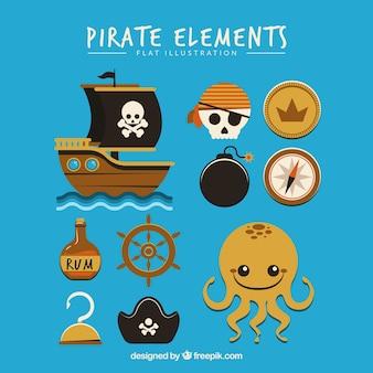 Coleção de polvo bonito e elementos de pirata