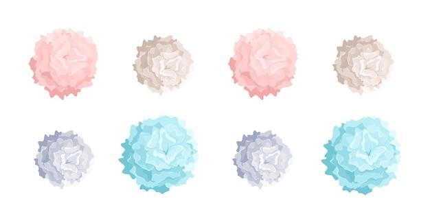 Coleção de pompons coloridos em tons pastéis de tamanhos diferentes. adereços de dança usados em apresentações de coreografia e líderes de torcida. elementos decorativos coloridos isolados no fundo branco. ilustração vetorial.