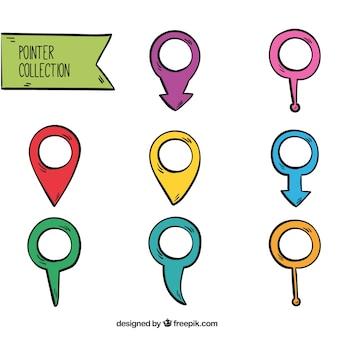 Coleção de ponteiros desenhados à mão