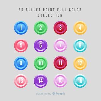 Coleção de ponto de bala colorido 3d
