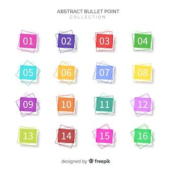 Coleção de ponto de bala colorido abstrato