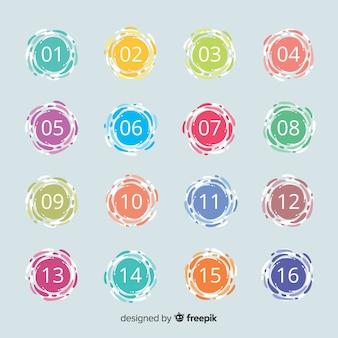 Coleção de ponto de bala plana colorida