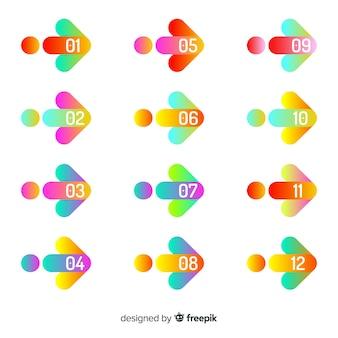 Coleção de ponto de bala seta colorida