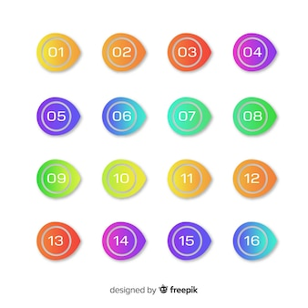 Coleção de ponto de marcador de gradiente