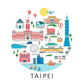 Coleção de pontos turísticos de taipé, forma de círculo da ilustração do conceito de viagens em taiwan