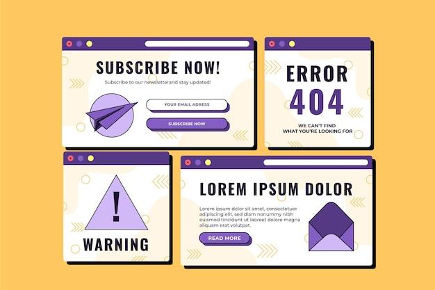 Coleção de pop-ups de design plano