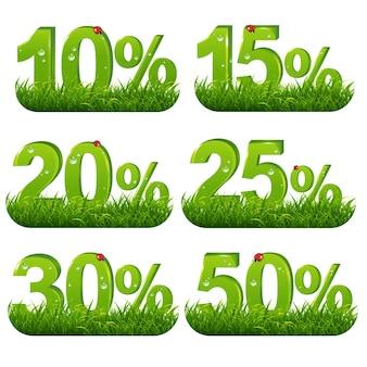 Coleção de porcentagem verde com grama com malha gradiente, ilustração