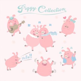 Coleção de porco bonito de vetor