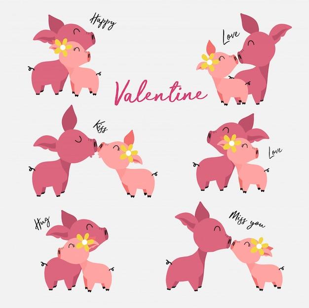Coleção de porcos machos e fêmeas bonitos no amor