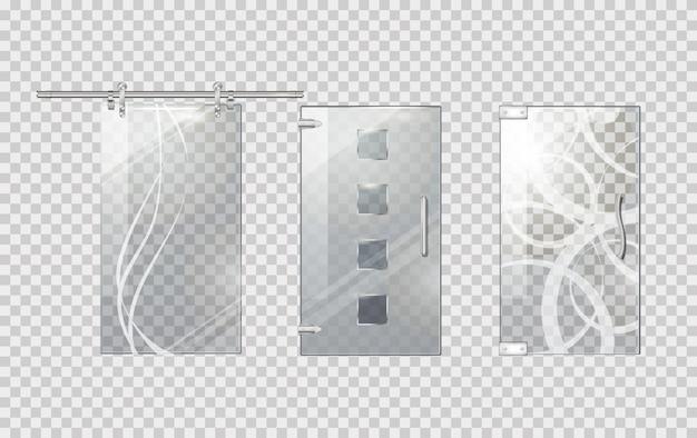 Coleção de porta de vidro no fundo transparente