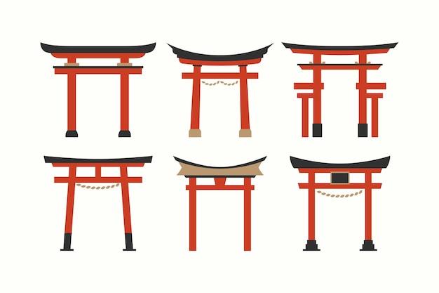 Coleção de portão torii de design plano
