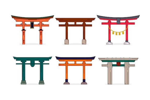Coleção de portão torii plano