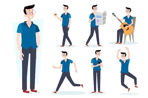Coleção de poses de personagem de homem