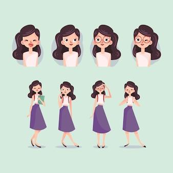 Coleção de poses de personagem de menina