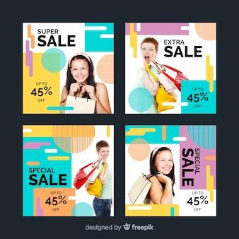 Coleção de post colorido abstrato venda instagram com meninas