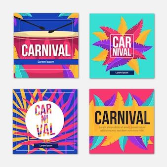 Coleção de post de festa de carnaval do instagram
