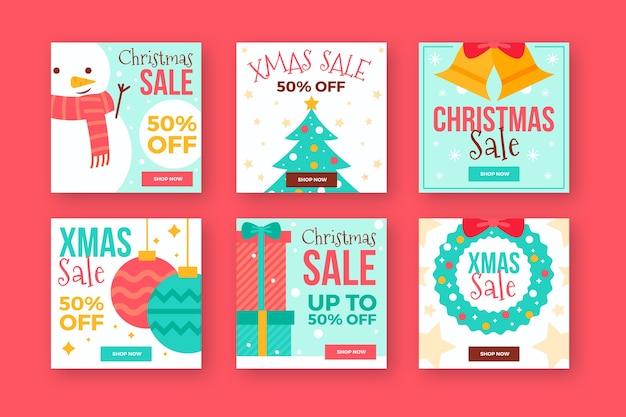 Coleção de post de instagram de elementos festivos de natal