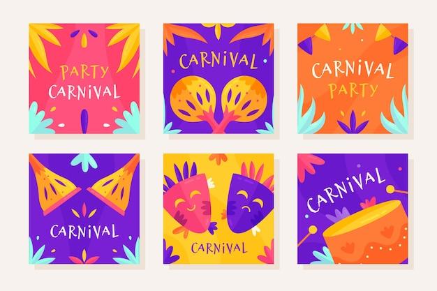 Coleção de post de instagram de festa de carnaval