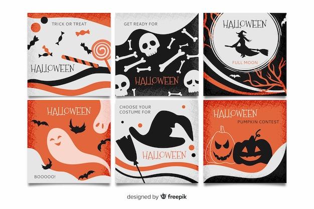 Coleção de post de instagram de halloween