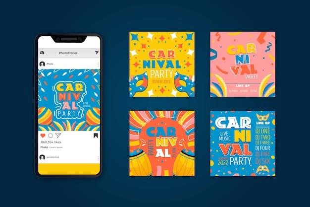 Coleção de post de mídia social de festa de carnaval