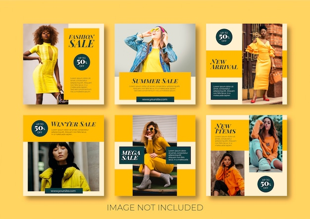 Coleção de post de mídia social de moda