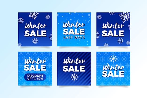 Coleção de post de mídia social de venda de inverno