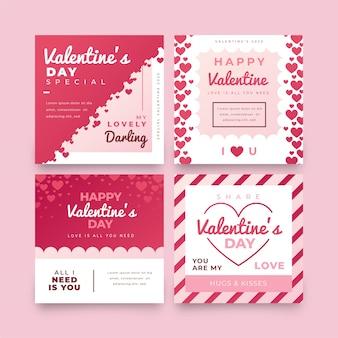 Coleção de post de venda de dia dos namorados