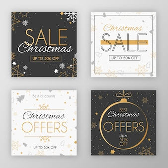 Coleção de post de venda de mídia social de natal festivo elegante