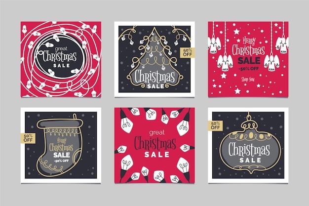 Coleção de post de venda de natal do instagram