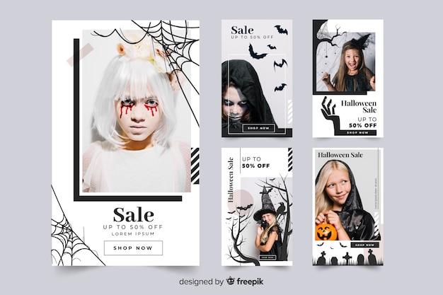 Coleção de post do halloween instagram vestir-se