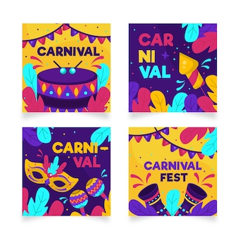 Coleção de post do instagram de festa de carnaval colorida