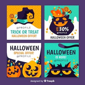 Coleção de post do instagram de halloween