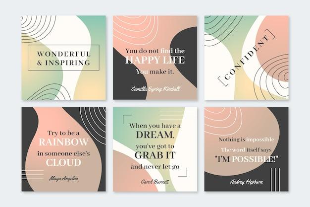 Coleção de post instagram de citações inspiradoras de gradiente