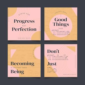 Coleção de post instagram de citações planas inspiradoras orgânicas