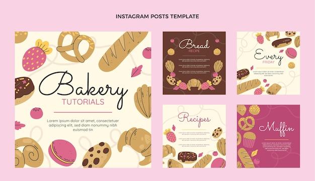Coleção de post instagram de padaria de design plano