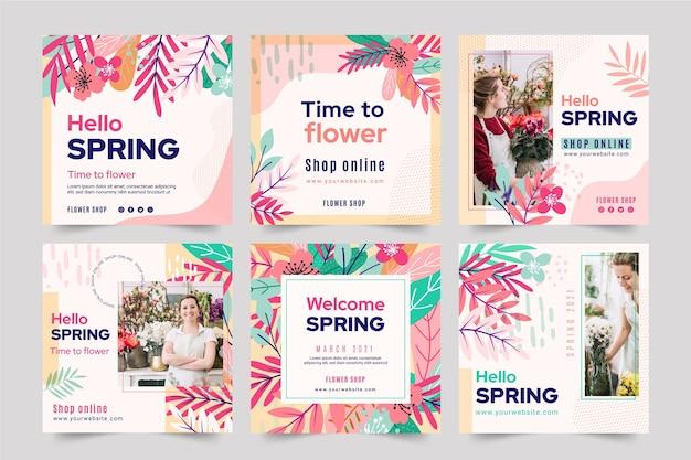 Coleção de post instagram de primavera com design plano