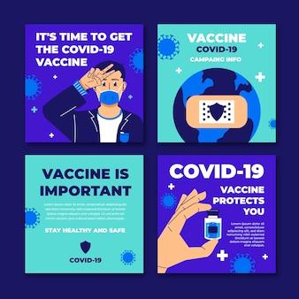 Coleção de post instagram de vacina plana