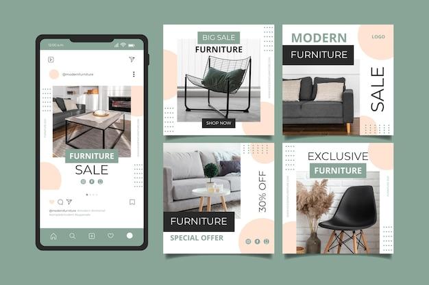 Coleção de post instagram de venda de móveis planos orgânicos