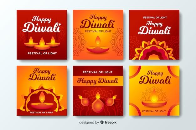 Coleção de post vermelho gradiente instagram diwali