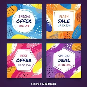 Coleção de postagem abstrata do instagram de venda