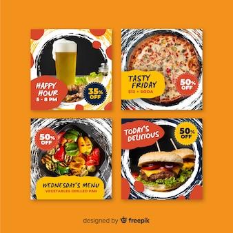 Coleção de postagem culinária instagram com banners de foto